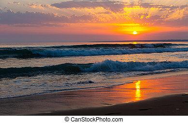 море, красивая, над, закат солнца, cloudscape