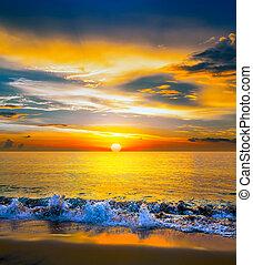 море, красочный, закат солнца, над