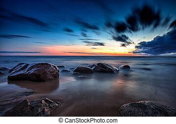 морской пейзаж, влажный, закат солнца, море, rocks