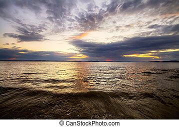 морской пейзаж, заход солнца