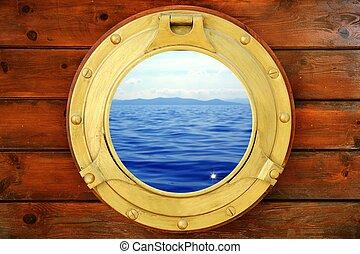 морской пейзаж, отпуск, закрыто, иллюминатор, лодка, посмотреть