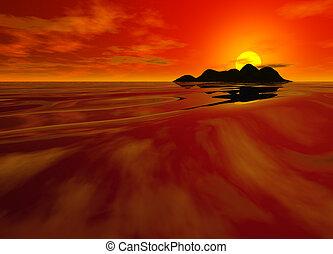 морской пейзаж, яркий, закат солнца, красный