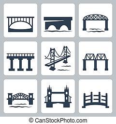 мосты, вектор, задавать, isolated, icons