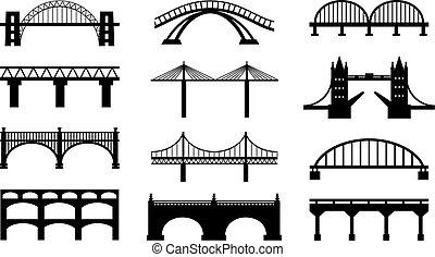 мосты, silhouettes, вектор, icons