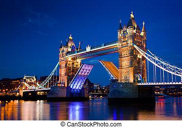 мост, башня, лондон, uk, ночь