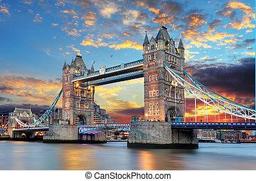 мост, башня, лондон, uk
