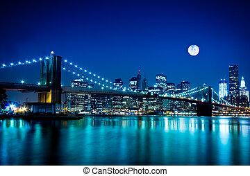 мост, бруклин, город, йорк, новый