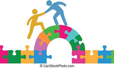 мост, присоединиться, помогите, люди, головоломка, решать