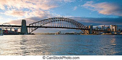 мост, сидней, панорама, harbour, город