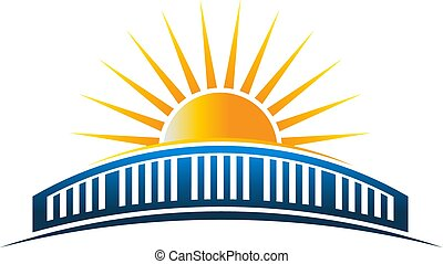 мост, солнце, над, иллюстрация, вектор, горизонт