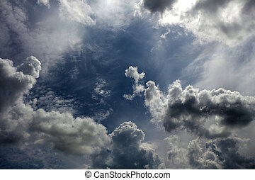 мрачный, пасмурная погода, небо, облачный, clouds., задний план, skies