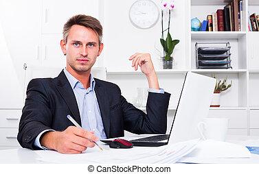 мужской, принятие, бумага, notes, наемный рабочий
