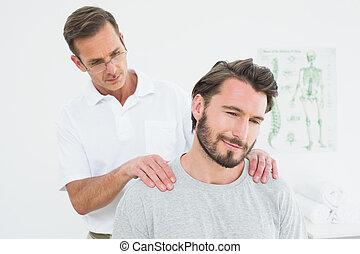 мужской, содержание, терапевт, massaging