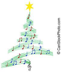 музыка, кэрол, дерево, рождество