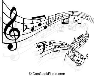 музыка, notes, задний план