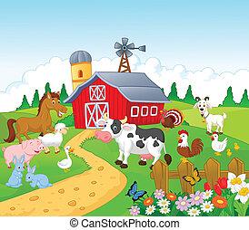 мультфильм, животное, задний план, ферма