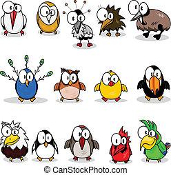 мультфильм, коллекция, birds