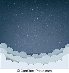 мультфильм, небо, облако, число звезд: