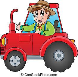 мультфильм, трактор, фермер