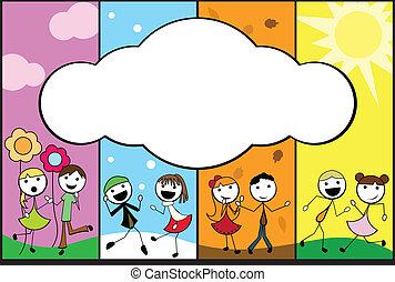 мультфильм, 4, придерживаться, задний план, seasons, children