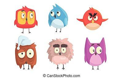 мультфильм, birds, вектор, illustration., большой, eyes.