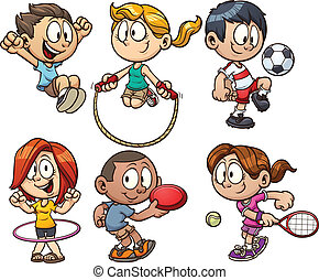 мультфильм, kids, playing