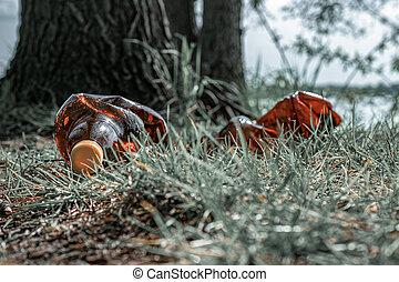 мусор, отходы, background., environment., грязный, woodland., bottles., пластик, мусор, пустой, экологический, используемый, экология, лес, мусор, problem.