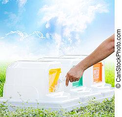 мусор, пластик, пустой, бросание, мужской, бутылка, перерабатывать, concept., экология, рука
