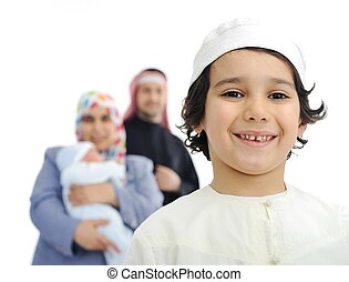 мусульманка, семья, счастливый