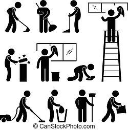мыть, чистый, вакуум, очиститель, работник