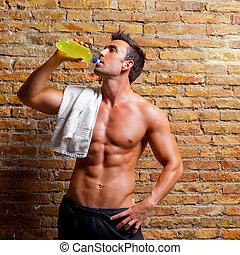 мышца, расслабленный, фасонный, человек, гимнастический зал, питьевой