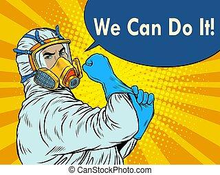 мы, врач, suit., эпидемия, covid19, это, защитный, можно, coronavirus