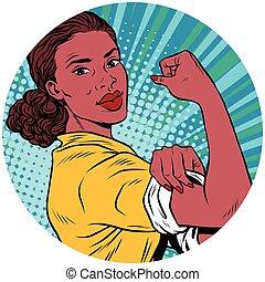 мы, женщина, изобразительное искусство, это, поп, charact, американская, черный, можно, африканец, аватар