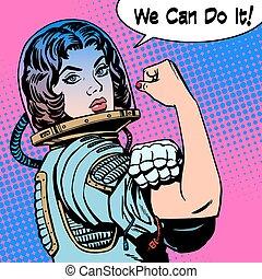 мы, женщина, мощность, это, акция протеста, астронавт, можно