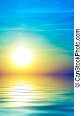 мягкий, абстрактные, закат солнца, море