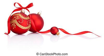 мячи, isolated, лук, украшение, лента, задний план, белый, рождество, красный
