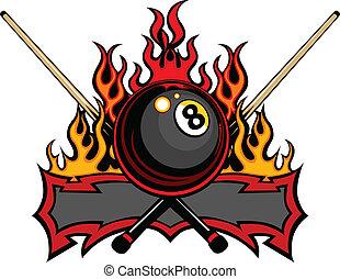 мяч, вектор, 8, бильярд, пламенный