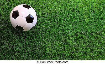 мяч, футбольный, зеленый, трава