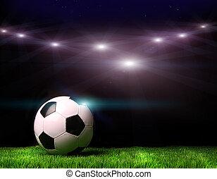 мяч, футбольный, трава, черный, против