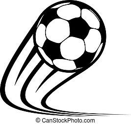 мяч, zooming, летающий, воздух, через, футбольный