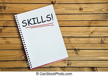 навыки, блокнот, слово
