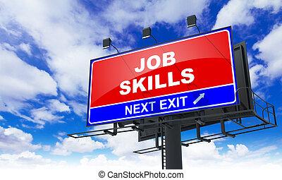 навыки, надпись, работа, красный, billboard.