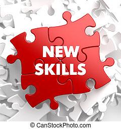 навыки, новый, puzzle., красный