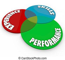 навыки, обзор, опыт, диаграмма, наемный рабочий, представление, венна