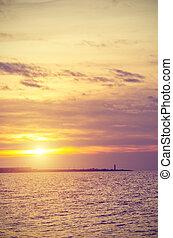 над, берег, закат солнца, тонкий, море, полоса