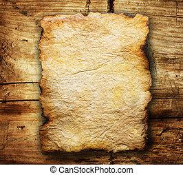 над, бумага, старый, задний план, деревянный, лист