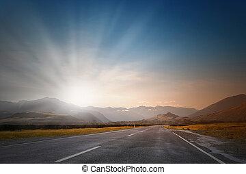 над, восход, дорога
