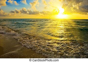над, восход, океан
