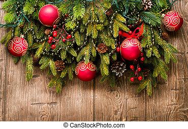над, задний план, деревянный, рождество, украшение