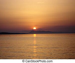 над, закат солнца, горизонт